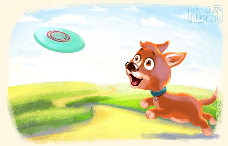 "Children's Picture Book ""The puppy runs"""