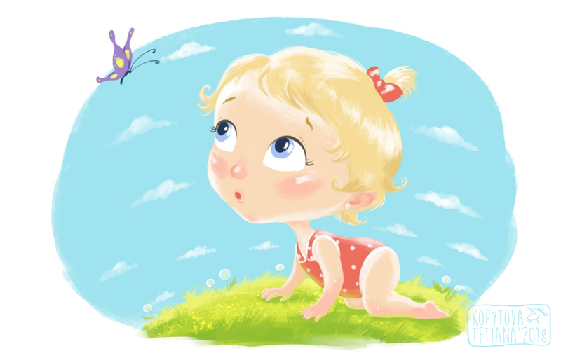"""Children's Picture Book """"The cute baby"""""""